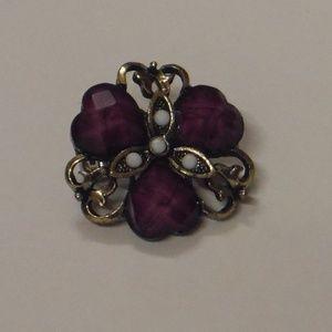 Round Vintage Style Purple Floral Brooch